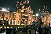 Moscow, Russia, 31/12/2005..Russians celebrate the lengthy New Year and Orthodox Christmas holidays. The GUM department store on Red Square illuminated for the holidays.