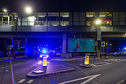 © Licensed to London News Pictures. 20 08 2020 London, UK. Police at the scene of a stabbing outside the Westferry DLR station in East London, which happened at around 7:40pm, where one man has received injuries that are not thought to be life-threatening. Photo credit: Paul Davey/LNP