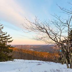 View from Hanson Top on Green Mountain in Effingham, New Hampshire. Winter.