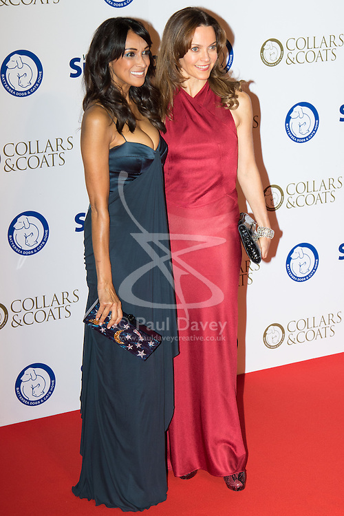 """Battersea, London, November 3rd 2016.  Celebrities and their dogs attend The Evolution at Battersea Park to attend The Battersea Dogs and Cats Home """"Collars and Coats Ball"""". PICTURED: Jackie St Clair and Kim Frickleton (R)"""