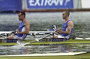 2002 FISA World Cup. Hazewinkel. BEL.       Friday  14/06/2002     .email images@Intersport-images.com.[Mandatory Credit: Peter Spurrier/Intersport Images]  .                                 /06/2002.Rowing    .GBR. LM2X Tom KAY and Tim MALE. Bow Rowing, FISA WC.Hazenwinkel, BEL