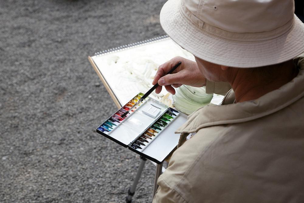 recreational artist painting local scenery Japan Kamakura