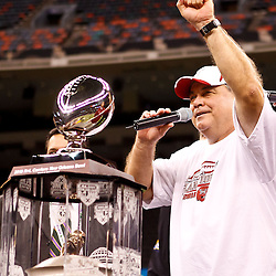 December 18, 2010; New Orleans, LA, USA; Troy Trojans head coach Larry Blakeney speaks following a win over the Ohio Bobcats in the 2010 New Orleans Bowl at the Louisiana Superdome. Troy defeated Ohio 48-21. Mandatory Credit: Derick E. Hingle