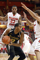 14 February 2015:   Darius Carter gets double teamed by Deontae Hawkins and Reggie Lynch during an NCAA MVC (Missouri Valley Conference) men's basketball game between the Wichita State Shockers and the Illinois State Redbirds at Redbird Arena in Normal Illinois