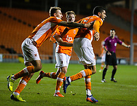 Blackpool's Kelvin Mellor celebrates scoring his side's equalising goal to make the score 1-1 with Nick Anderton<br /> <br /> Photographer Alex Dodd/CameraSport<br /> <br /> The EFL Sky Bet League One - Blackpool v Blackburn Rovers - Tuesday 28th November 2017 - Bloomfield Road - Blackpool<br /> <br /> World Copyright © 2017 CameraSport. All rights reserved. 43 Linden Ave. Countesthorpe. Leicester. England. LE8 5PG - Tel: +44 (0) 116 277 4147 - admin@camerasport.com - www.camerasport.com