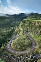 Horeshoe bend of Historic Columbia River Highway below Rowena Crest. Columbia River Gorge National Scenic Arae, Oregon
