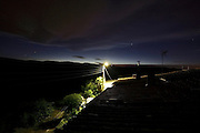 little rural village roofs during night Aude France