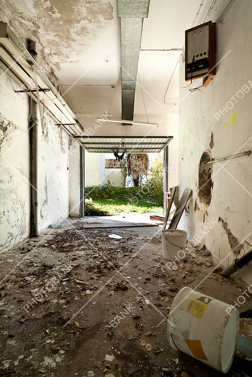 abandoned building, debris in the garage