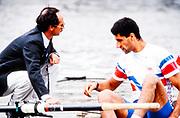 Henley. England, 1989 Henley Royal Regatta, River Thames, Henley Reach,  [© Peter Spurrier/Intersport Images], The Silver Goblets & Nickalls' Challenge Cup, left, Coach, Marty AITKIN, Salih HASSAN,