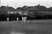 18/07/1970<br /> 07/18/1970<br /> 18 July 1970<br /> Cricket: Clontarf 1st XI v Old Belvedere, Leinster Senior Cup Final at Clontarf Cricket Club, Dublin. old Belvedere gat a run Clontarf Captain Fergus Carroll,wicket keeper, in centre.