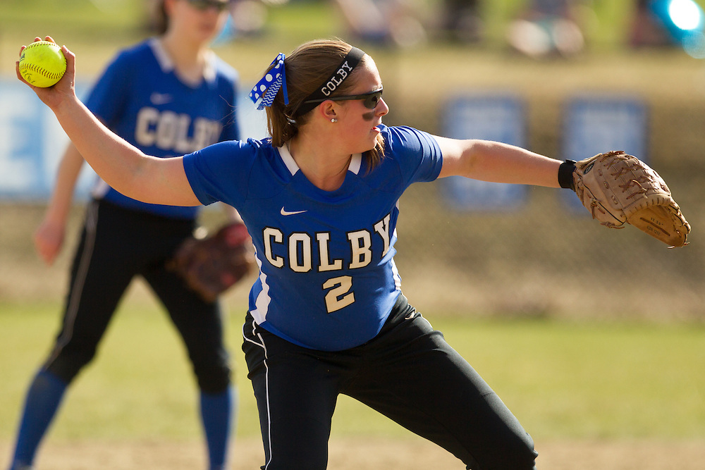 Katie McLaughlin, of Colby College, during a NCAA Division III women's softball game against at Colby College on April 25, 2014 in Waterville, ME. (Dustin Satloff/Colby Athletics)