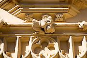 Detail of historic church stone gatehouse building, Cirencester, Gloucestershire, England, UK,