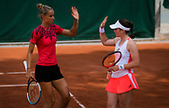 Arantxa Rus of the Netherlands and Tamara Zidansek of Slovenia in action during her doubles match at the Roland-Garros 2021, Grand Slam tennis tournament on June 2, 2021 at Roland-Garros stadium in Paris, France - Photo Rob Prange / Spain ProSportsImages / DPPI / ProSportsImages / DPPI