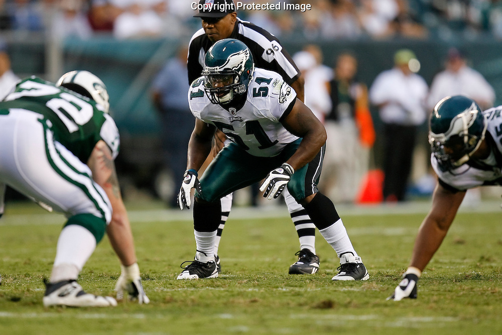 28 August 2008: Philadelphia Eagles linebacker Joe Mays #51 before a play during the game against the New York Jets on August 28, 2008. The Jets beat the Eagles 27 to 20 at Lincoln Financial Field in Phialdelphia, Pennsylvania.