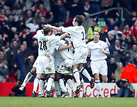 Middlesbrough players celebrate Geremi's goal against Liverpool during the Premiership  match at Anfield, Liverpool, Saturday, February 8th, 2003.<br /><br />Pic by David Rawcliffe/Propaganda<br /><br />Any problems call David Rawcliffe on +44(0)7973 14 2020 or email david@propaganda-photo.com - http://www.propaganda-photo.com
