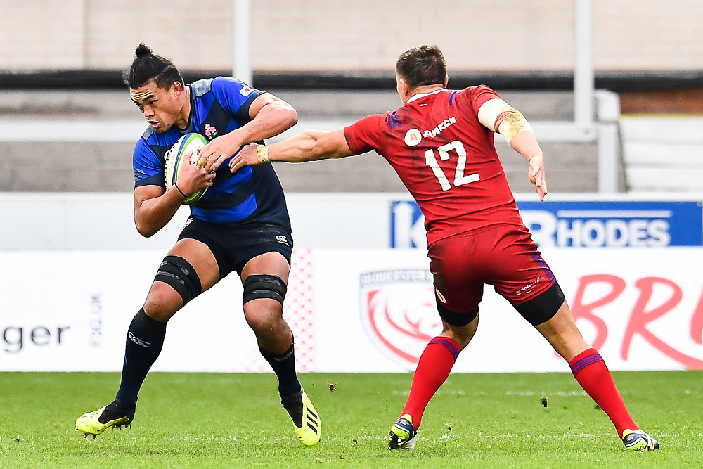 Hendrik Tui of Japan evades the tackle of Dmitry Gerasimov of Russia <br /> <br /> Photographer Craig Thomas<br /> <br /> Japan v Russia<br /> <br /> World Copyright ©  2018 Replay images. All rights reserved. 15 Foundry Road, Risca, Newport, NP11 6AL - Tel: +44 (0) 7557115724 - craig@replayimages.co.uk - www.replayimages.co.uk
