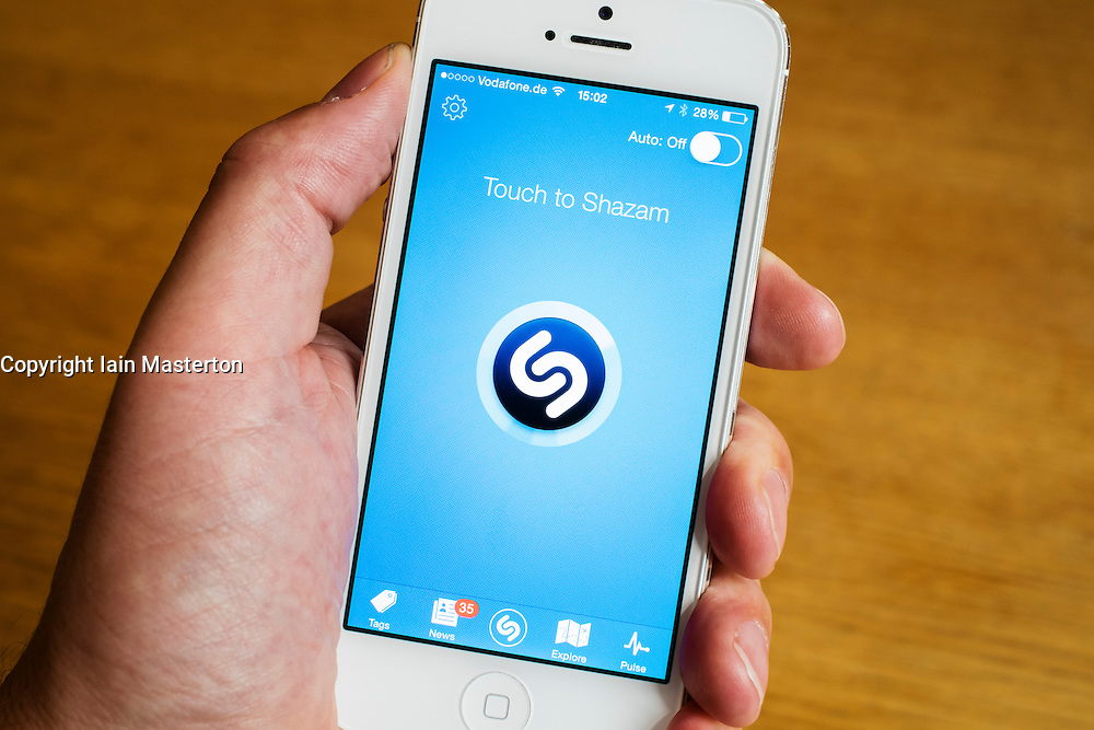 detail of home page of Shazam music recognition online mobile app on iPhone smart phone