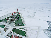 The M/S Explorer cruises through sea ice in Antarctica in February 2005. The M/S Explorer sank after hitting an iceberg in 2007, and now lies sunk 600 meters deep in the Southern Ocean. Two and a half years after our successful trip, the Explorer, owned by Canadian travel company GAP Adventures, took on water after hitting ice at 12:24 AM EST on Friday November 23, 2007. 154 passengers and crew calmly climbed into lifeboats and drifted some six hours in calm waters. A Norwegian passenger boat rescued and took them to Chile's Antarctic Eduardo Frei base, where they were fed, clothed, checked by a doctor, and later flown to Punta Arenas, Chile. The ship sank hours after the passengers and crew were safely evacuated.