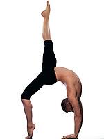 caucasian man gymnastic stretching acrobatics isolated studio on white background