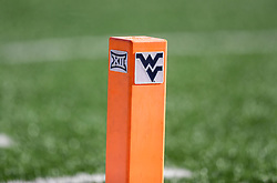 Sep 11, 2021; Morgantown, West Virginia, USA; The West Virginia Mountaineers logo is seen on a pylon during the first quarter against the Long Island Sharks at Mountaineer Field at Milan Puskar Stadium. Mandatory Credit: Ben Queen-USA TODAY Sports
