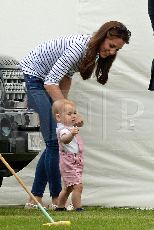 © Licensed to London News Pictures. 15/06/2014. London, UK Catherine Duchess of Cambridge; Prince George of Cambridge, Maserati Jerudong Trophy Charity polo match, Cirencester Park Polo Club, 15 June 2014,. Photo credit : Mike Webster/PIQ/LNP