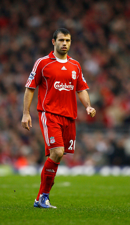 Liverpool, England - Saturday, February 24, 2007: Liverpool's Javier Mascherano in action against Sheffield United during the Premiership match at Anfield. (Pic by David Rawcliffe/Propaganda)