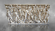 Roman sarcophagus depicting a battle between Achilles and Pentesilea and Amazons, the faces of the deceased have been sculpted over the Greek heroes, circa 230-250 AD, inv 933, Vatican Museum Rome, Italy,  grey art background ..<br /> <br /> If you prefer to buy from our ALAMY STOCK LIBRARY page at https://www.alamy.com/portfolio/paul-williams-funkystock/greco-roman-sculptures.html . Type -    Vatican    - into LOWER SEARCH WITHIN GALLERY box - Refine search by adding a subject, place, background colour, museum etc.<br /> <br /> Visit our CLASSICAL WORLD HISTORIC SITES PHOTO COLLECTIONS for more photos to download or buy as wall art prints https://funkystock.photoshelter.com/gallery-collection/The-Romans-Art-Artefacts-Antiquities-Historic-Sites-Pictures-Images/C0000r2uLJJo9_s0c