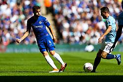 Cesc Fabregas of Chelsea is challenged by Bernardo Silva of Manchester City - Rogan/JMP - 05/08/2018 - FOOTBALL - Wembley Stadium - London, England - Chelsea v Manchester City - The FA Community Shield.