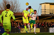 Havant & Waterlooville Lee Molyneaux (6) rises for the ball during the Ryman Premier League match between Bognor Regis Town and Havant & Waterlooville FC at Nyewood Lane, Bognor, United Kingdom on 26 December 2016. Photo by Jon Bromley.
