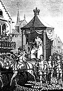 Elizabeth I on her way to open the first Royal Exchange, London, 23 January 1571. Copperplate engraving c1680.