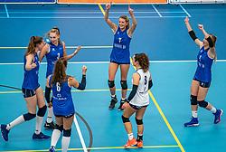Ream Sliedrecht Sport celebrate during the supercup semifinal between VC Sneek and Sliedrecht Sport on October, 03 2020 in Van der Knaaphal, Ede