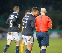 Dundee's Thomas Konrad after scoring their fourth goal checks with Ref Stephen Finnie to make sure it's his goal. <br /> Dundee 4 v 1 Motherwell, SPFL Premiership played 10/1/2015 at Dundee's home ground Dens Park.