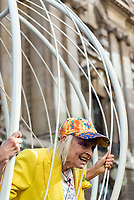 Dame Vivienne Westwood outside the Old Bailey in a cage supporting Julian Assange 21st Jul 2020 photo by Mark Anton Smith