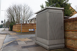 A toilet at the turn-around point of bus routes in Chigwell, Essex has divided opinion among local residents, some of who object to its presence whilst others believe it is essential for the bus drivers. Chigwell, Essex, January 24 2019.
