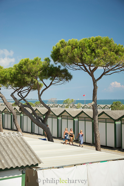 Beach huts and resort. The Lido, Italy, Europe