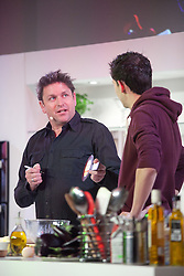 © London News Pictures. 12/04/2012. Gravesend, Kent. TV chef James Martin on stage. Opening day of the BBC Good Food Show Spring at Glow, Bluewater, Kent.  Photo credit should read Manu Palomeque/LNP.
