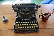 Havana, Cuba - December 13, 2014: An old Corona typewriter sits on a desk at the former house of Ernest Hemingway in Havana, Cuba.
