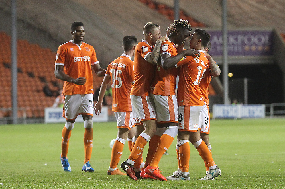 Blackpool's Armand Gnanduillet celebrates scoring his sides third goal <br /> <br /> Photographer Mick Walker/CameraSport<br /> <br /> Carabao Cup First Round - Blackpool v Barnsley - Tuesday August 14th 2018 - Bloomfield Road - Blackpool<br />  <br /> World Copyright © 2018 CameraSport. All rights reserved. 43 Linden Ave. Countesthorpe. Leicester. England. LE8 5PG - Tel: +44 (0) 116 277 4147 - admin@camerasport.com - www.camerasport.com