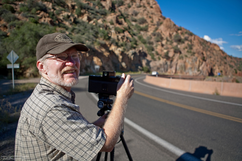 James Cowlin photographing on Route 89A in Arizona