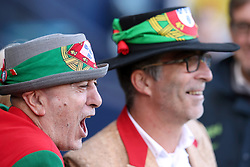 Portugal fans show their support in the stands ahead of the International Friendly match at Hampden Park, Glasgow.
