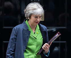 © Licensed to London News Pictures. 12/06/2018. London, UK. Prime Minister Theresa May leaves 10 Downing Street as she heads to Parliament. Photo credit: Rob Pinney/LNP