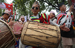 KATHMANDU, Aug. 9, 2016 (Xinhua) -- People participate in a celebration of the 22nd International Day of the World's Indigenous Peoples in Kathmandu, Nepal, Aug. 9, 2016. The International Day of the World's Indigenous Peoples was first proclaimed by the UN General Assembly in December of 1994. (Xinhua/Sunil Sharma).****Authorized by ytfs* (Credit Image: © Sunil Sharma/Xinhua via ZUMA Wire)