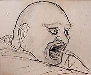 Zen Patriarch Linji (Study) dated 1897 (Meiji 30) by Hasimoto Gaho (1835-1908), pencil and ink on paper.  The Tokyo National Museum is the oldest and largest of Japan's top-level national museums. Located in Ueno Park, Tokyo, Japan.