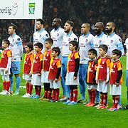 Trabzonspor's Players during their Turkish superleague soccer derby match Galatasaray between Trabzonspor at the AliSamiYen spor kompleksi TT Arena in Istanbul Turkey on Sunday, 22 December 2013. Photo by TURKPIX