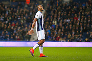 West Bromwich Albion forward Jose Salomon Rondon (9) can see the funny side of his shot being saved during the Premier League match between West Bromwich Albion and Burnley at The Hawthorns, West Bromwich, England on 21 November 2016. Photo by Simon Davies.