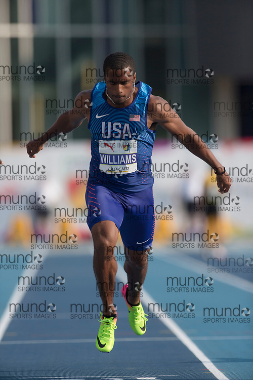 Toronto, ON -- 11 August 2018: Kendal Williams (USA), 100m final at the 2018 North America, Central America, and Caribbean Athletics Association (NACAC) Track and Field Championships held at Varsity Stadium, Toronto, Canada. (Photo by Sean Burges / Mundo Sport Images).