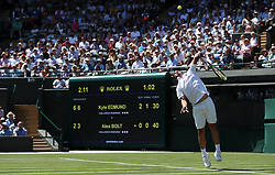 Alex Bolt in action on day two of the Wimbledon Championships at the All England Lawn Tennis and Croquet Club, Wimbledon.