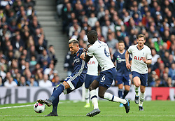 Roberto Pereyra of Watford holds the ball up under pressure from Davinson Sanchez of Tottenham Hotspur - Mandatory by-line: Arron Gent/JMP - 19/10/2019 - FOOTBALL - Tottenham Hotspur Stadium - London, England - Tottenham Hotspur v Watford - Premier League