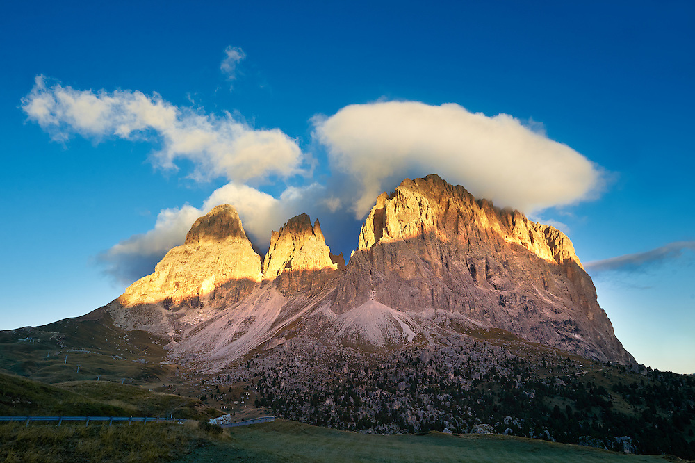 Sassolungo Mountain range, 3081m high, from the Sulla Pass between the Val Gardena and Val di Fassa, the Western Dolomites, Southern Tyrol; Trentino, Italy. .<br /> <br /> Visit our ITALY PHOTO COLLECTION for more   photos of Italy to download or buy as prints https://funkystock.photoshelter.com/gallery-collection/2b-Pictures-Images-of-Italy-Photos-of-Italian-Historic-Landmark-Sites/C0000qxA2zGFjd_k<br /> If you prefer to buy from our ALAMY PHOTO LIBRARY  Collection visit : https://www.alamy.com/portfolio/paul-williams-funkystock/dolomite-mountains-italy.html .<br /> <br /> Visit our ITALY HISTORIC PLACES PHOTO COLLECTION for more   photos of Italy to download or buy as prints https://funkystock.photoshelter.com/gallery-collection/2b-Pictures-Images-of-Italy-Photos-of-Italian-Historic-Landmark-Sites/C0000qxA2zGFjd_k