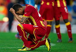 Kevin Prince Boateng of Ghana prays during penalty shot in the last minute of overtime at  2010 FIFA World Cup South Africa Quarter Finals football match between Uruguay and Ghana on July 02, 2010 at Soccer City Stadium in Sowetto, suburb of Johannesburg. Uruguay defeated Ghana after penalty shots. (Photo by Vid Ponikvar / Sportida)